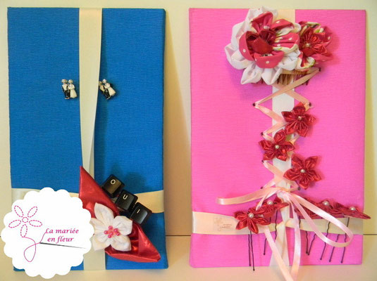 Collection Delphine. Accessoires assortis des mariés: boutonnière et accessoires de cheveux. Fleurs en tissu framboise