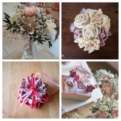 La mariée en fleur_montage créations rose et blanc. Bouquets et accessoires de mariée en fleurs en tissus et papiers