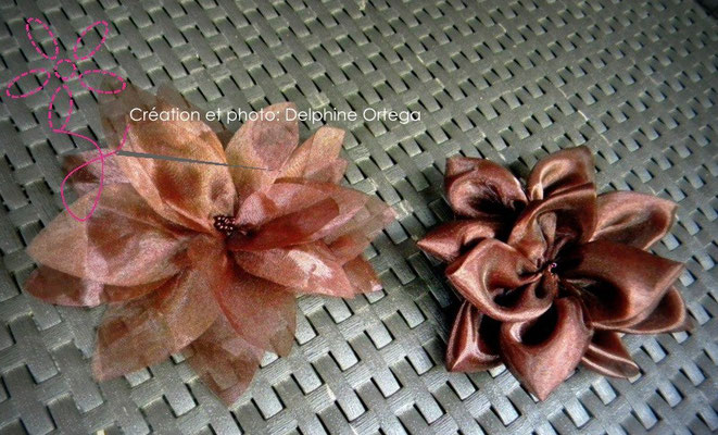 Personnalisation de robe de mariée. Fleurs en organza chocolat