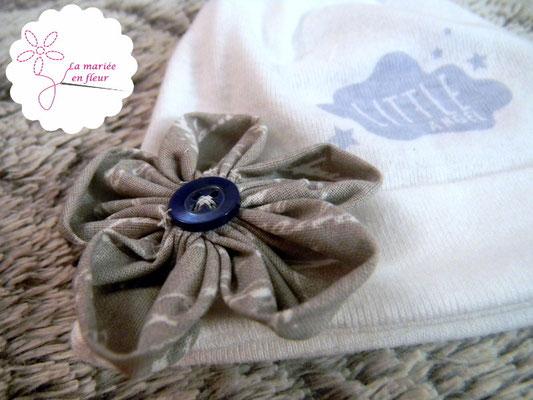 Collection Annabelle. Bonnet bébé garçon. Tons bleus et gris