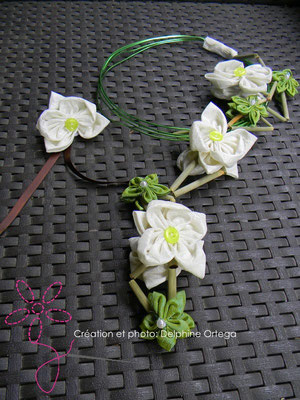 Bouquet de mariée original et éternel avec bracelet assorti, orchidées en tissu. Bouquet cascade moderne, thème asiatique zen