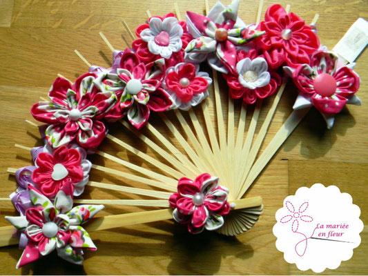 Bouquet de mariée original et intemporel, éventail en fleurs en tissus et origamis rose framboise