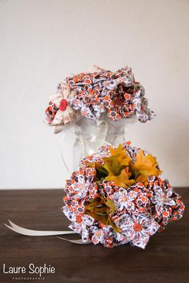 Bouquets d'automne, de mariée et de demoiselle d'honneur assortis en fleurs en tissu et en papier