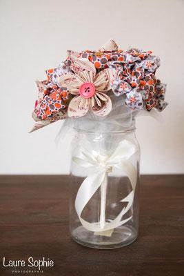 Bouquet de mariée automnal en fleur en tissu et origami