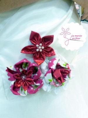 Collection Delphine. Personnalisation de robe de mariée. Fleurs en tissu framboise