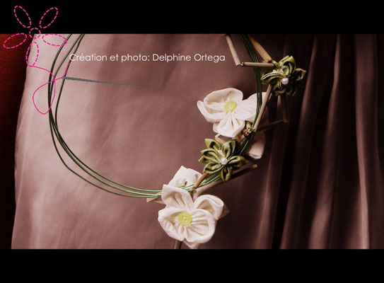 Bouquet de mariée original et éternel, orchidées en tissu. Bouquet cascade moderne, thème asiatique zen