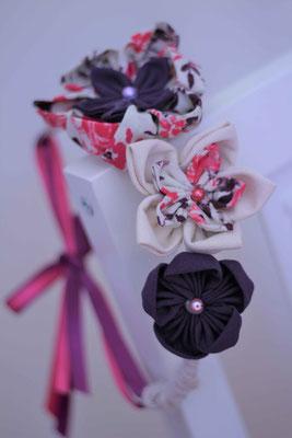 Couronnes éternelles en fleurs en tissu mère-fille: rose et violet par La mariée en fleur