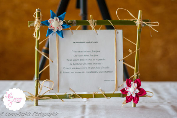 Fleurs en tissu, décoration de cadres mariage