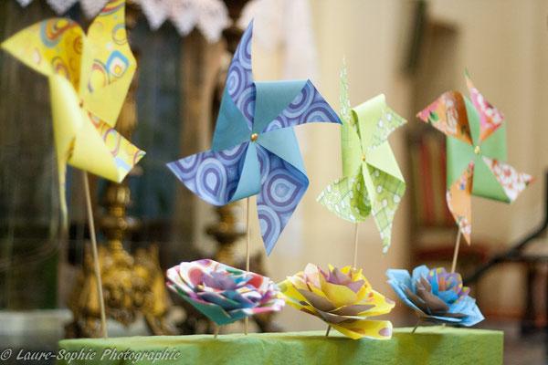 Décoration par La mariée en fleur, centre de table mariage, bouquet de mariée original, bouquet tissu et papier. Photo Laure Sophie Photographie