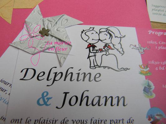Mini moulin à vent DIY avec attache parisienne sur les faire parts de mariage