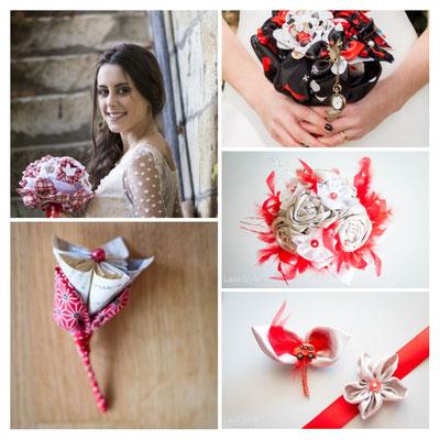 La mariée en fleur_montage créations rouge. Bouquets et accessoires de mariée en fleurs en tissus et papiers