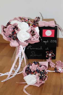 Collection Annaïck en fleurs en tissus pour un souvenir éternel par La mariée en fleur: bouquet de mariée et accessoires assortis