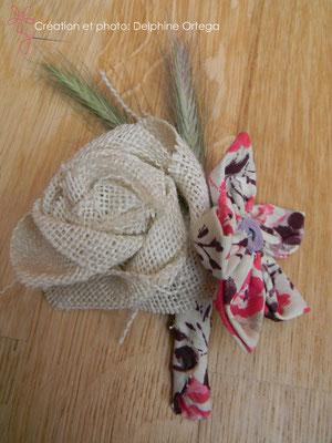 Boutonnière originale en fleurs éternelles de tissu et papier. Thème rustique champêtre