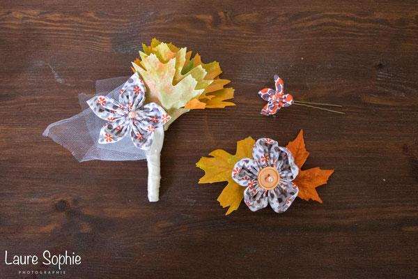 Boutonnière, barrette et épingles à chignon mariage d'automne en fleurs en tissu et feuilles d'arbre