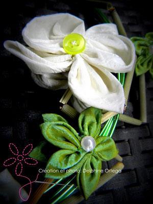 Bouquet de mariée original et éternel, orchidées en tissu. Bouquet cascade moderne, thème asiatique zen. Détail orchidée et bambous