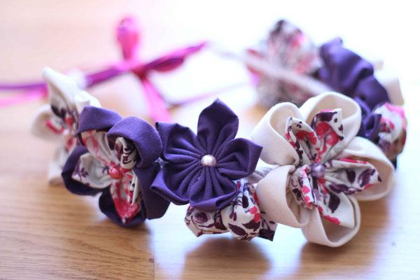 Couronne de fleurs en tissu violet fushia framboise et beige par La mariée en fleur, taille adulte pour invitée mariage