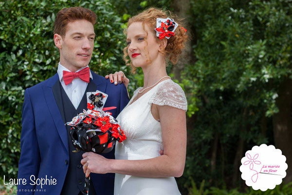 Mariage de la reine de coeur le 25 avril 2016 à Toulouse. Bouquet de mariée original, bijou de tête et boutonnière La mariée en fleur