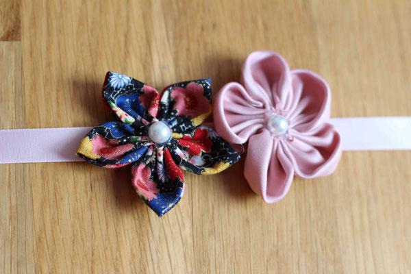 Headband par La mariée en fleur: satin rose poudré et coton fleuri multicolore