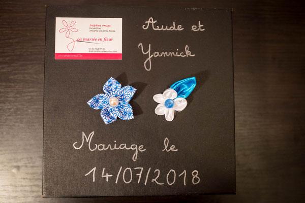 Coffret La mariée en fleur. Aude et Yannick. Collection blanche et turquoise