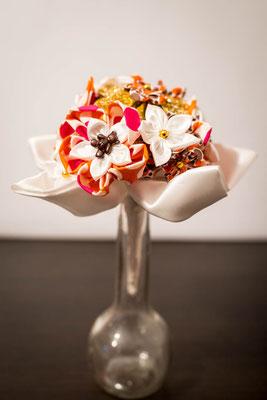 Collection Alice. Mini bouquet baptême. Bouquet éternel en tissu. Oursons, rose, orange, blanc et or
