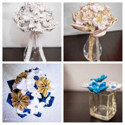 La mariée en fleur_montage créations blanc, or et bleu. Bouquets et accessoires de mariée en fleurs en tissus et papiers