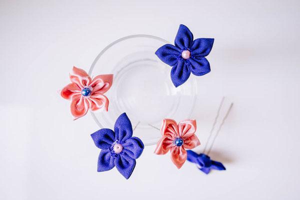 Épingles à chignon pour coiffure de mariée fleur en tissu par La mariée en fleur, rose et bleu saphir