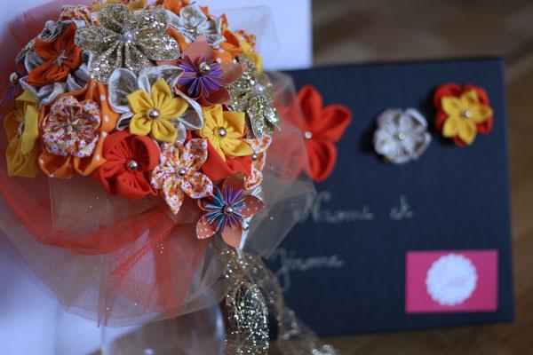 Bouquet intemporel en fleurs éternelles en tissus et papier jaune orange et doré par La mariée en fleur