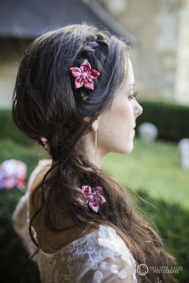 Mariage Guinguette le 19 octobre 2017. Accessoires de cheveux en tissu par La mariée en fleur. Crédit photo: Philippe Calvo