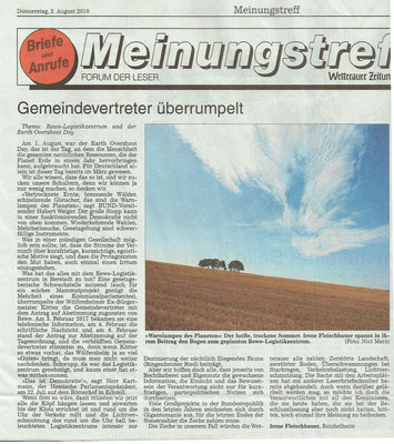 Wetterauer Zeitung, 2. August 2018