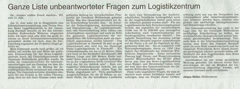 Wetterauer Zeitung, 24. Juni 2018