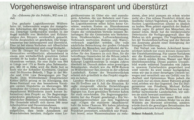 Wetterauer Zeitung, 15. Juni 2018