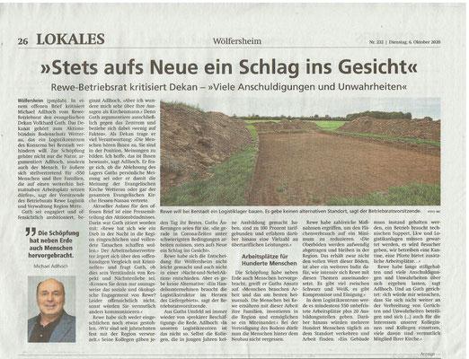 Wetterauer Zeitung vom 6. Oktober 2020