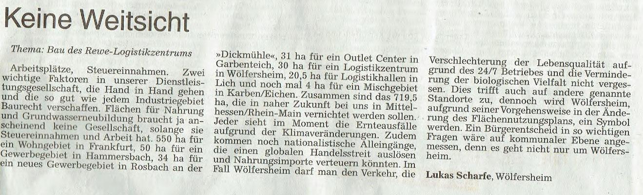 Wetterauer Zeitung, 18. März 2018