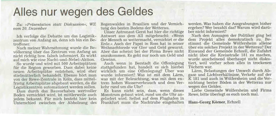Wetterauer Zeitung, 29. Dezember 2018