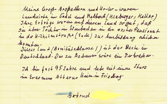 Brief einer Dame aus dem Altenheim in Friedberg