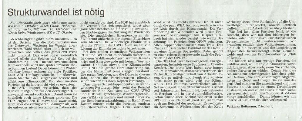 Wetterauer Zeitung, 27. Oktober 2018