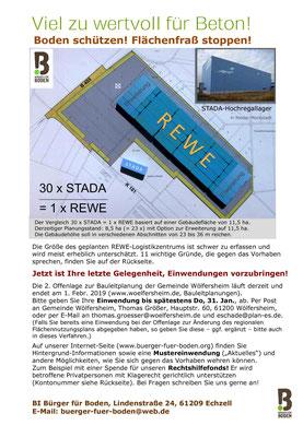 Flyer von Bürger für Boden zur Beteiligung an der Offenlegung des Bebauungsplans der Gemeinde Wölfersheim.
