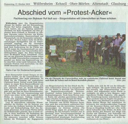 Wetterauer Zeitung vom 17. Oktober 2019