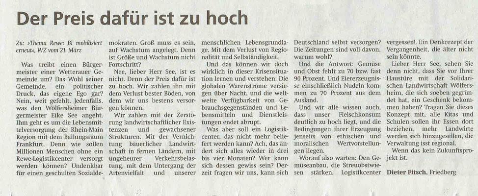Wetterauer Zeitung, 2. April 2020