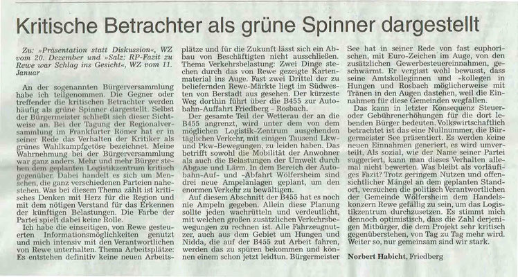 Wetterauer Zeitung vom 24.01.2019