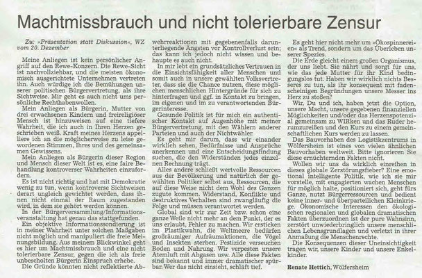 Wetterauer Zeitung, 27. Dezember 2018