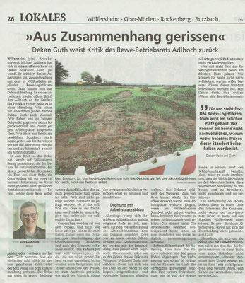 Wetterauer Zeitung vom 8. Oktober 2020