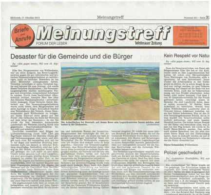 Wetterauer Zeitung, 17. Oktober 2018