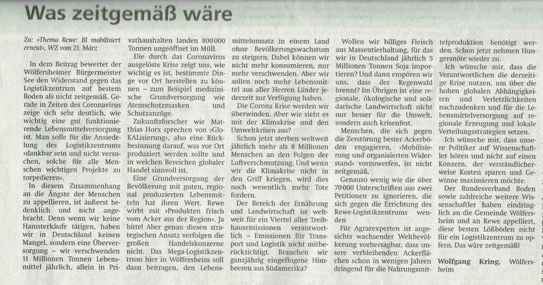 Wetterauer Zeitung, 1. April 2020