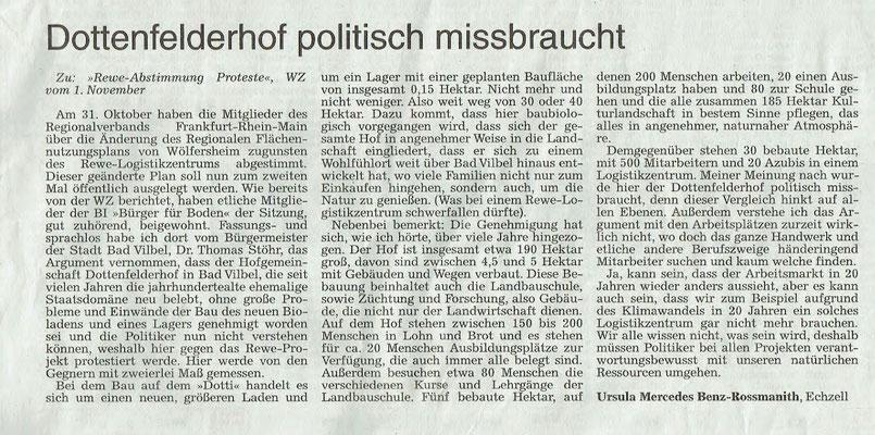 Wetterauer Zeitung, 13.11.2018