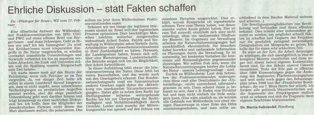 Wetterauer Zeitung vom 16. März 2019