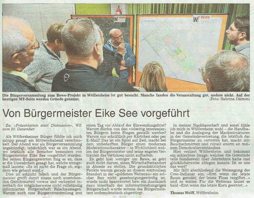 Wetterauer Zeitung, 22. Dezember 2018