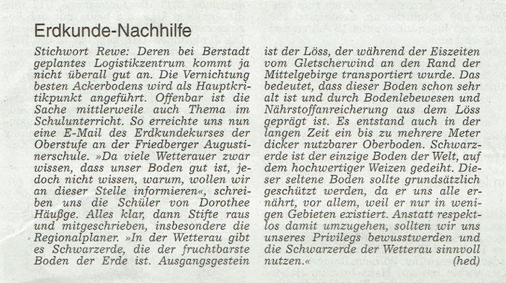 Wetterauer Zeitung, 31. März 2018