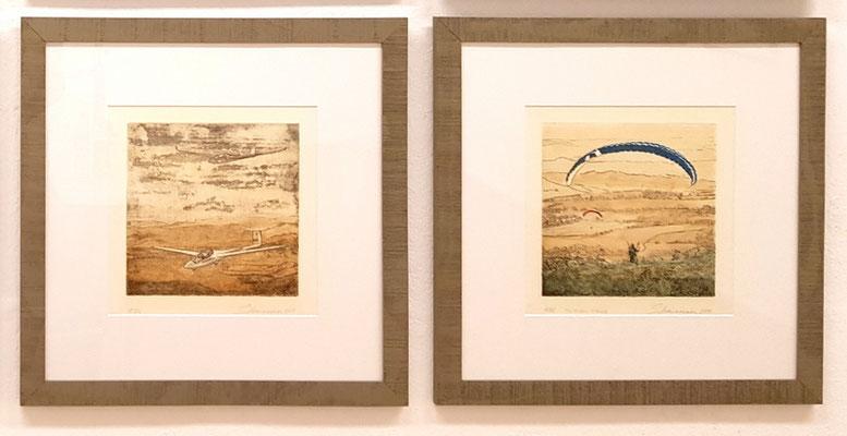 Segelflug über die Rhön  -  To feel free  (Wasserkuppe) -  Druckgröße 20 x 20 cm  -  Blattgröße 40 x 40 cm