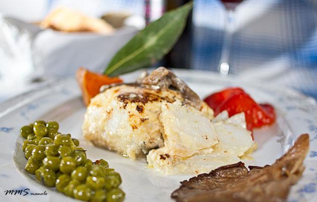 Platos bacalao, fotografía gastronomica